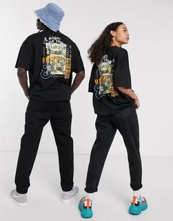 ASOS DESIGN - x glaad& – Übergroßes Unisex-T-Shirt mit Print hinten in Schwarz