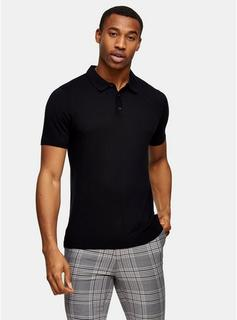 Topman - Mens Black Stitch Knitted Short Sleeve Polo, Black