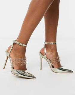 ASOS DESIGN - Punk – Transparente High Heels mit Stiletto-Absatz und goldenen Nieten