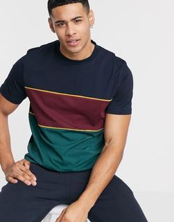 ASOS DESIGN - T-Shirt mit Blockfarben und Paspelierung in Marine-Navy