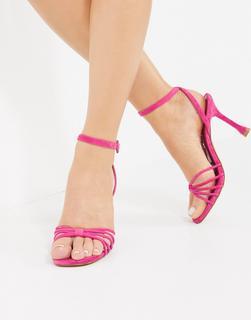 MANGO - Rosa Wildleder-Sandalen mit hohem Absatz