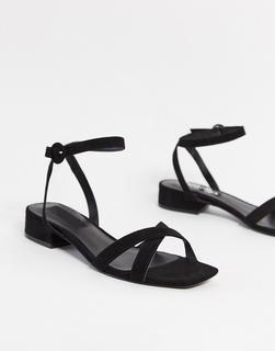 MANGO - Schwarze Sandalen mit überkreuzten Riemen