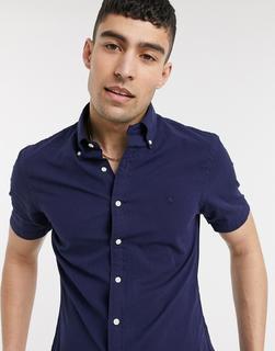Polo Ralph Lauren - Kurzärmliges, schmal geschnittenes Seersucker-Hemd mit Button-down-Kragen und Polospieler-Logo in Marineblau-Navy