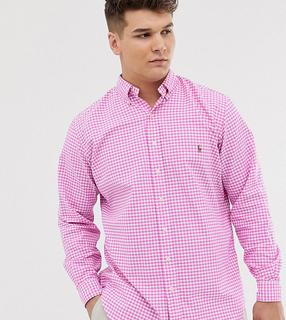 Polo Ralph Lauren - Big & Tall – Oxford-Hemd in Rosa mit Button-Down-Kragen, Vichy-Karos und Polospieler-Logo
