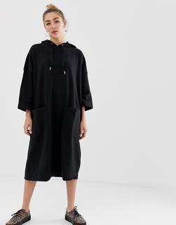 Monki - Kleid mit Kapuze-Schwarz