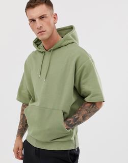 ASOS DESIGN - Kurzärmliger Oversize-Kapuzenpullover mit seitlichen Reißverschlüssen, in Khaki-Grün