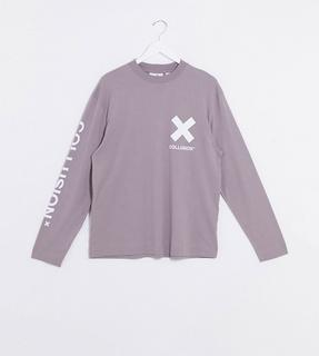 Collusion - Langärmliges Unisex-Shirt mit Logo, in Grau