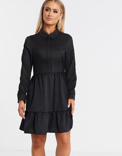 Vero Moda - Gesmoktes Hemdkleid in Schwarz