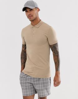 ASOS DESIGN - Beigefarbenes Muskel-Polohemd aus Jersey