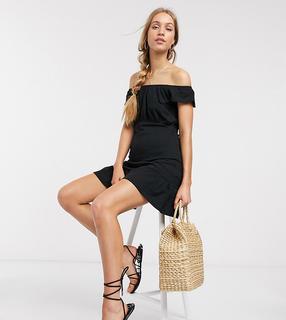 ASOS Tall - ASOS DESIGN Tall – Schulterfreies Mini-Sommerkleid in Schwarz mit Schößchensaum