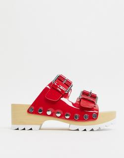 Calvin Klein - Vancy– Rote Clogs mit dicker Profilsohle