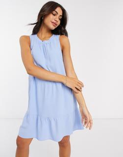 Vero Moda - Abgestuftes Mini-Hängerkleid in Blau