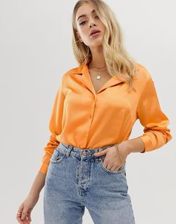 ASOS DESIGN - Legeres, langärmliges Satinhemd-Orange