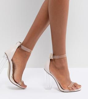 Missguided - Sandalen mit durchsichtigem Absatz-Beige