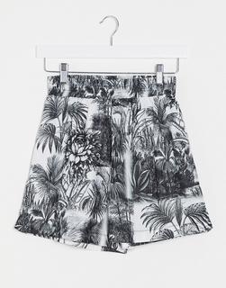 Missguided - Shorts mit Blätter-Print, Kombiteil-Mehrfarbig
