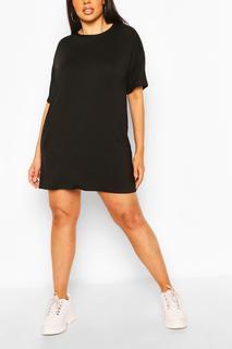boohoo - Womens Plus Basic Jersey Oversized T-Shirt Dress - Black - 16, Black
