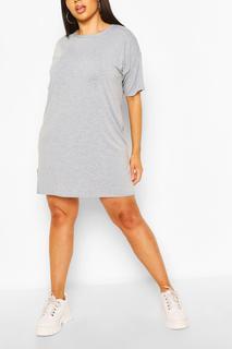 boohoo - Womens Plus Basic Jersey Oversized T-Shirt Dress - Grey - 18, Grey