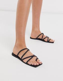 Missguided - Schwarze Sandalen mit eckiger Zehenpartie