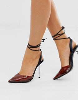 ASOS DESIGN - President – High-Heels mit spitzem Zehenbereich in Tabak und Schwarz-Mehrfarbig
