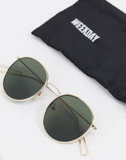 Weekday - Explore – Runde Sonnenbrille mit grünen Gläsern-Gold
