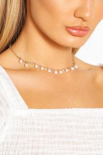 boohoo - Womens Pearl Detail Chain Choker Necklace - Metallics - One Size, Metallics