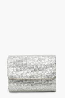 boohoo - Womens Structured Metallic Clutch Bag & Chain - Grey - One Size, Grey