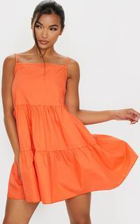 PrettyLittleThing - Orange Cotton Poplin Tiered Strappy Smock Dress, Orange