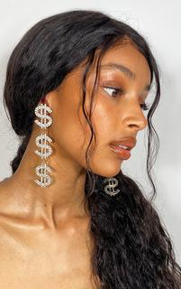 PrettyLittleThing - Silver Diamante Drop Dollar Earrings, Grey