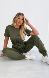 PrettyLittleThing - Khaki Sweat Short Sleeve Jogger Jumpsuit, Green