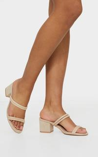 PrettyLittleThing - Nude Tube Strap Low Block Heel Mules, Pink