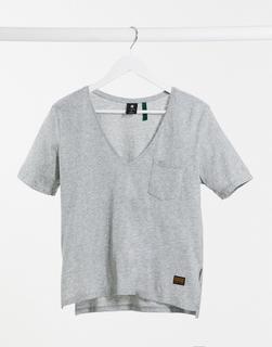G-Star - Graues T-Shirt mit Tasche und V-Ausschnitt