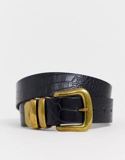 New Look - New Loook – Schwarzer Jeansgürtel mit dicker Schnalle in Kroko-Optik