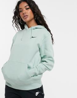 Nike - Sanftgrüner Oversize-Kapuzenpullover mit Swoosh-Logo-Blau