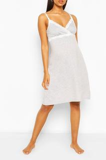 boohoo - Womens Maternity Lace Trim Nursing Nightie - Grey - 8, Grey