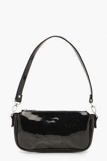 boohoo - Womens Patent Shoulder Bag - Black - One Size, Black