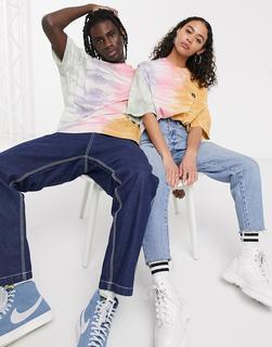 ASOS DESIGN - x glaad& – Übergroßes Unisex-T-Shirt in Batik-Optik mit Print hinten-Mehrfarbig