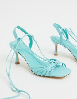 Truffle Collection - Blaue Riemchensandalen mit halbhohem Absatz