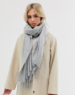 Pieces - Extragroßer Schal mit Quasten in Grau
