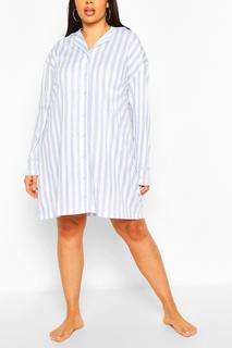 boohoo - Womens Plus Candy Stripe Jersey Nightie - Blue - 20, Blue
