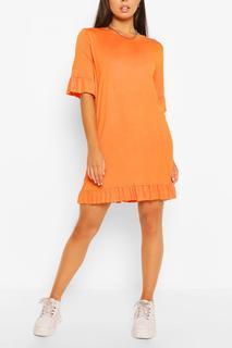 boohoo - Womens Ruffle Detail Jersey Shift Dress - Orange - 8, Orange