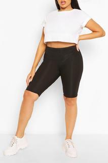 boohoo - Womens Plus Rib Longline Cycle Short - Black - 26, Black
