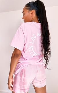PrettyLittleThing - Baby Pink La Oversized T Shirt, Pink