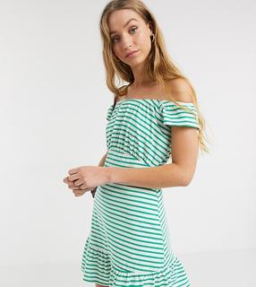 ASOS Tall - ASOS DESIGN Tall – Exklusives, schulterfreies, gestreiftes Mini-Sommerkleid in Grün und Weiß-Mehrfarbig
