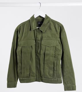 Brave Soul Tall - Frederique – Jacke aus Twill mit Tasche in Khaki-Grün