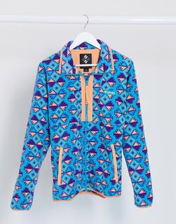Columbia - Helvita – Bedruckte Fleece-Jacke in Blau mit 1/4-Reißverschluss-Weiß