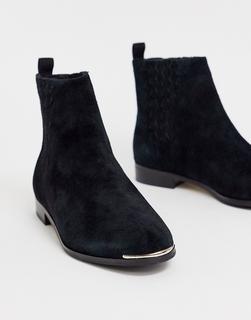 TED BAKER - Iveca – Flache Ankle-Boots aus Leder-Schwarz