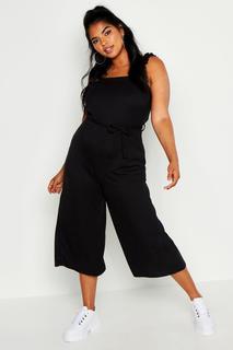 boohoo - Womens Plus Rib Ruffle Strap Tie Waist Culotte Jumpsuit - Black - 18, Black