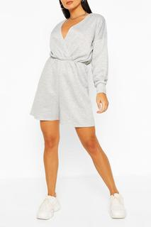 boohoo - Womens Wrap Front Long Sleeve Loopback Sweat Playsuit - Grey - 12, Grey