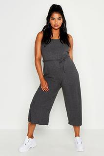 boohoo - Womens Plus Rib Ruffle Strap Tie Waist Culotte Jumpsuit - Grey - 20, Grey