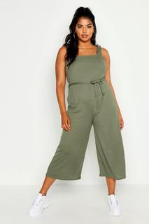 boohoo - Womens Plus Rib Ruffle Strap Tie Waist Culotte Jumpsuit - Green - 18, Green